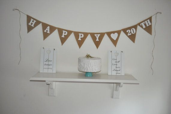 Happy 20 th Hessian Burlap Banner Bunting by inspiredcompany4u