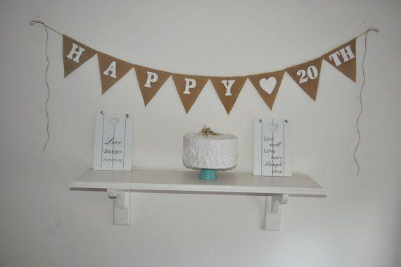 Happy 20 th Hessian Burlap Banner Bunting by inspiredcompany4u