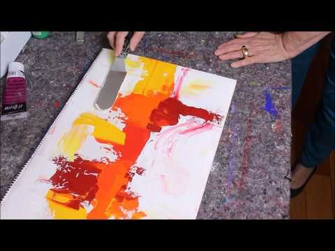 Abstract painting demo - Abstrakte Malerei in Rot und Gelb - Acrylmalerei für Anfänger - YouTube