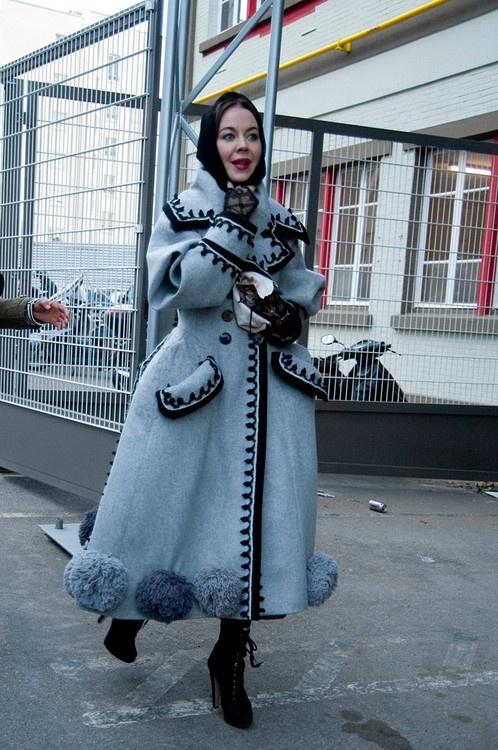 Ulyana Sergeenko wearing John-Galliano