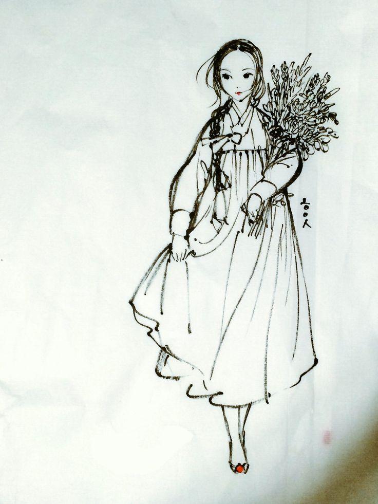 brushpen, 2016 A girl with flower