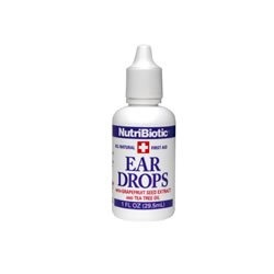 $5.55-$6.99 Nutribiotic - Ear Drops, 1 fl oz liquid - NutriBiotic First Aid Ear Drops  with Grapefruit Seed Extract and Tea Tree Oil  NutriBiotic First Aid Ear Drops are an excellent topical   treatment for ear aches, swimmer's ear, and over-production of wax. This   soothing, antiseptic formula helps ease pain and soothe itchy, irritated   skin.   Adults, place 2 or 3 drops in affected ear. Chil ...