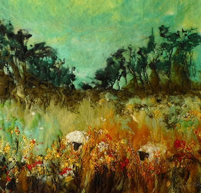 Summer Grazing ~ Original felted paintings by Moy Mackay. Prints of these and more are available from the Moy Mackay Gallery