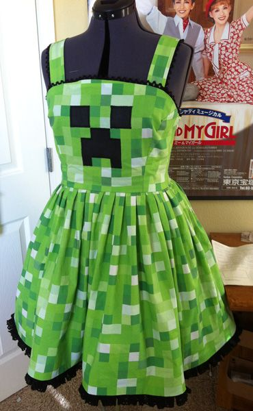 Mindcraft Lolita styled dress. Angelic threads working nerdy fashion magic.