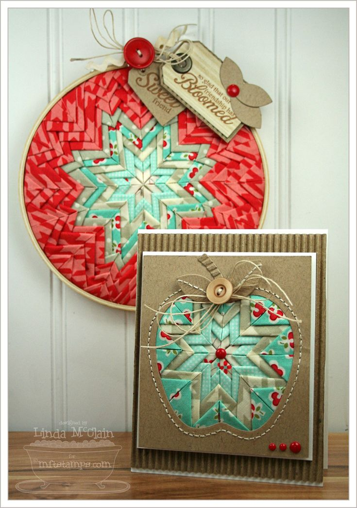 Folded Star Card and Embroidery Hoop. Could do this with scraps of paper?