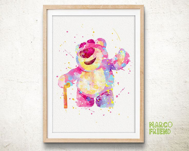 Disney Toy Story Lotso Teddy Bear Watercolor Art by MarcoFriend