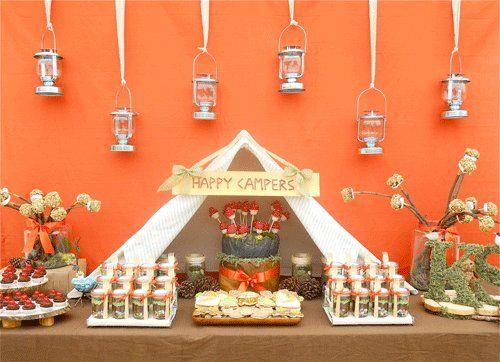 love the lantern drop back! camping bridal shower