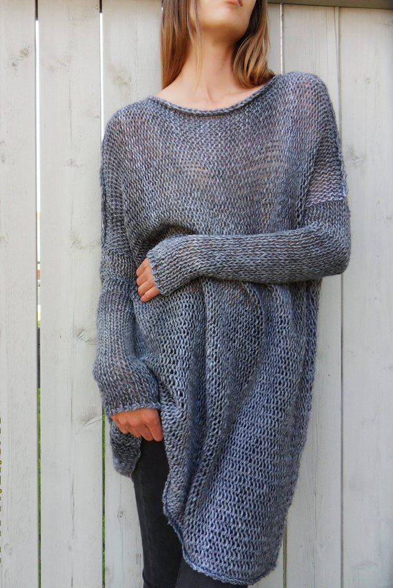 3d4533d7ae7fd8 Alpaca Oversized women sweater. Chunky knit sweater. Slouchy  bulky knit  sweater. Thumb holes sweate