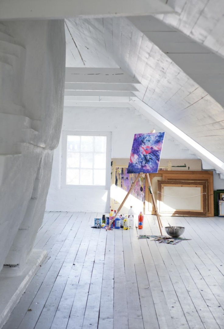 artist studio attic. I could turn this into my perfect studio space - desks, storage, workbench, canvases, easel, paints, computer area, the works!