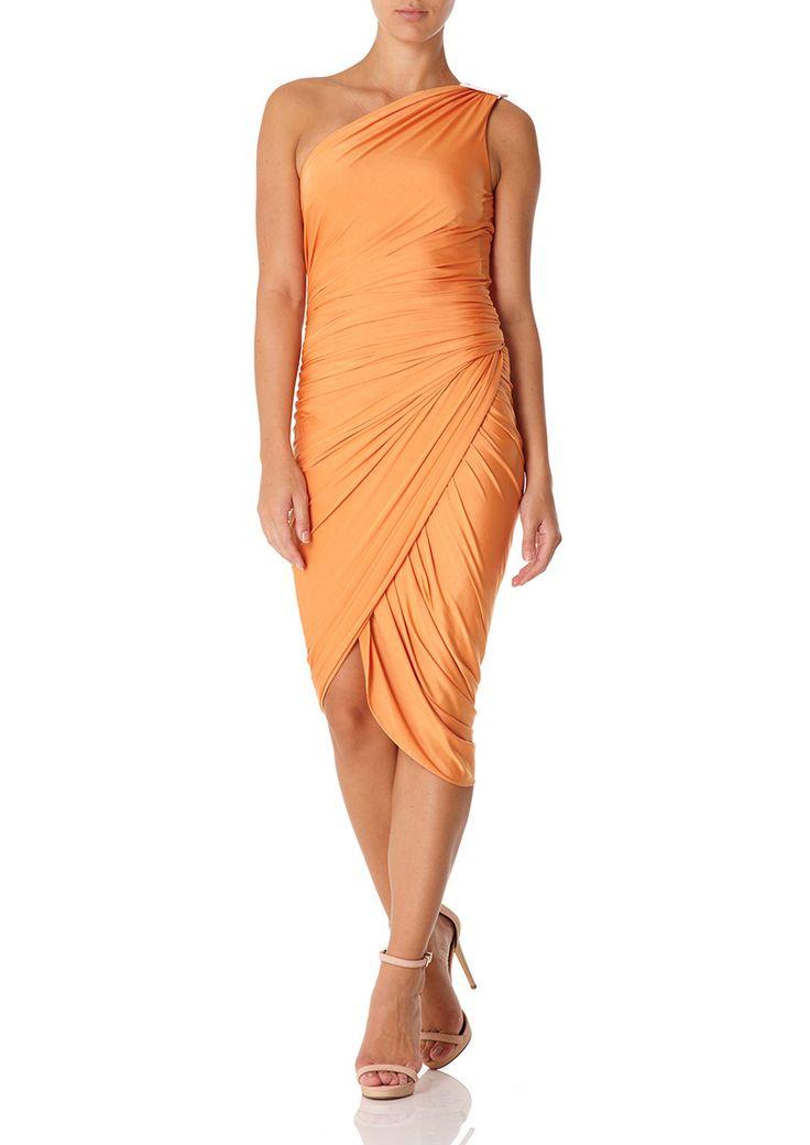 KAYDEN - Orange Jersey Drape and Wrap One Shoulder Dress