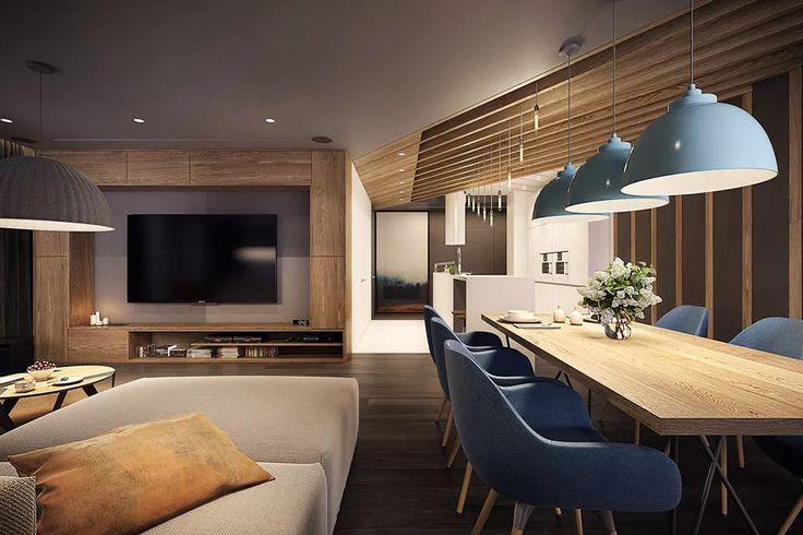 Idea open space moderno a blocchi di colore per ogni spazio: soggiorno marrone, sala da pranzo blu e cucina bianca - appartamento moderno e elegante