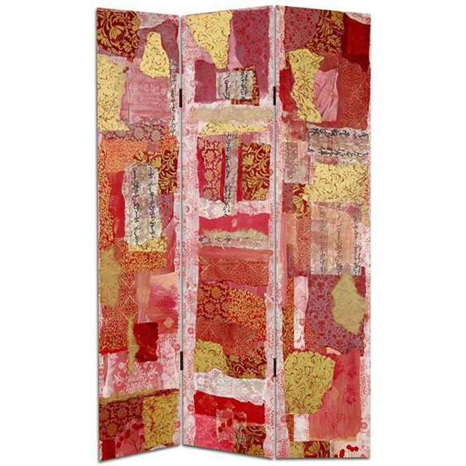 Oriental Furniture 6 ft. Tall Double Sided Avant-Garde Collage Canvas Room Divider - 3 Panel, Red