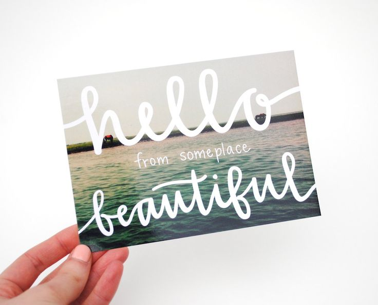 Postcards with Hand-Lettered Calligraphy . Travel Photography . Hello from Someplace Beautiful . Set of 5. $15.00, via Etsy.: Hands Lett Calligraphy, Postcards Design, Business Cards, Someplac Beautiful, Hands Letters, Graphics Design, Hello Beautiful, Travel Photography, Handlett Calligraphy