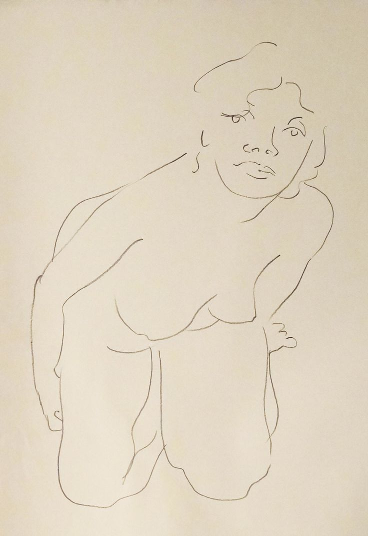 "Nude Figure IV, crayon on cream - colored paper, 24"" x 19"", $1,800, http://transformgallery.com/wayne-ensrud/"