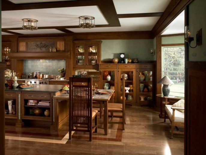 Kitchen:Beautiful Kitchen Design Idea Contemporary Home Kitchen Design With Oak Wood Furniture With Natural Color Has Island Cabinetry Kitchen Hoods Dining Table And Chairs Sofa With White Cushions And Desk Lamp On Nightstand