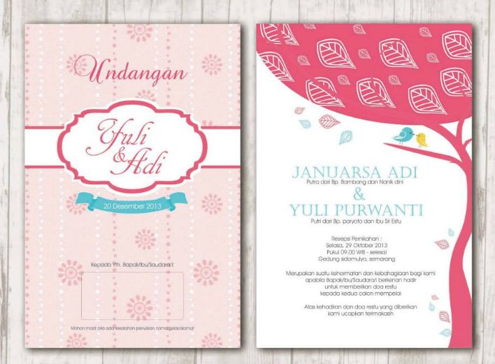 warna pink undangan pernikahan hardcover