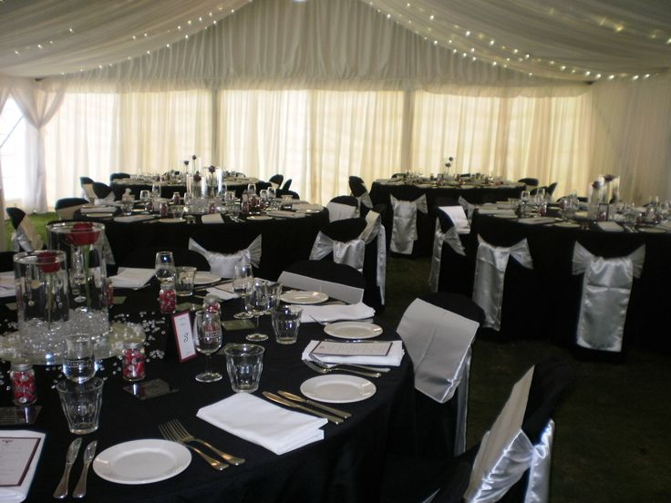 black wedding table cloth and chair covers | Trentham Estate wedding with black chair covers and white satin sashes ...