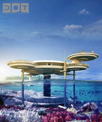 The Underwater Hotel planned for Dubai has a restaurant, spa and recreational areas above ground, with glassed sleeping suites below sea level. The entire submerged disc can be raised in the event of bad weather. | Drydocks World + BIG InvestConsult + Deep Ocean Technology