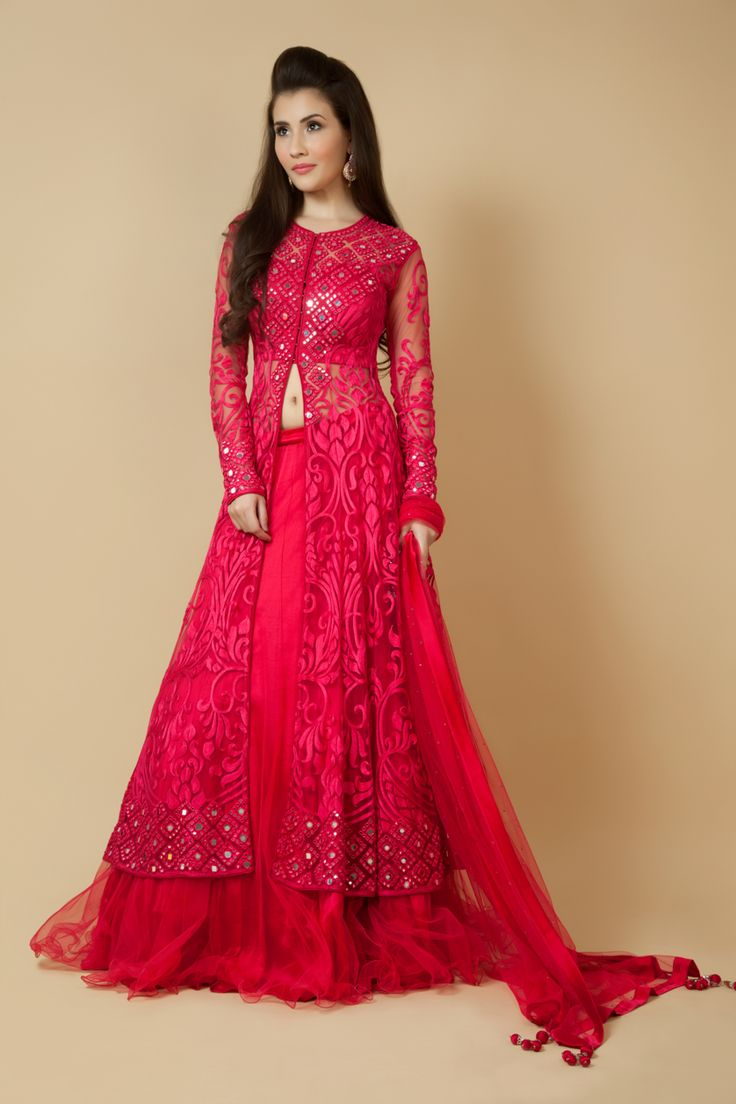 Net jacket ghagra and dupatta embellished with thread and mirror work. Item number W15-137