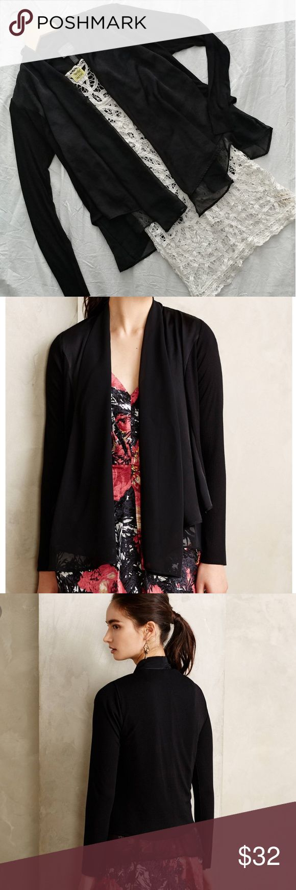 "Anthropologie Saturday Sunday Lola Black Cardigan Gorgeous Saturday Sunday by Anthropologie Lola cardigan size Medium. It has a soft layered look and is great to dress up or down. Perfect for layering. Excellent pre loved condition. Looks washed/worn once or twice. No defects and from a smoke and pet free home.  Shoulder to hem 21"" long. Armpit to Armpit 20"" across. Anthropologie Sweaters Cardigans"