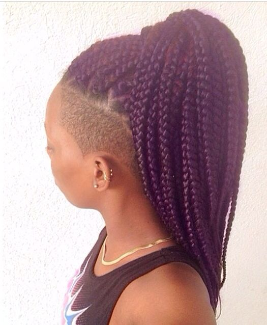 Natural hair. Protective style. Side shave. Box braids. Purple.
