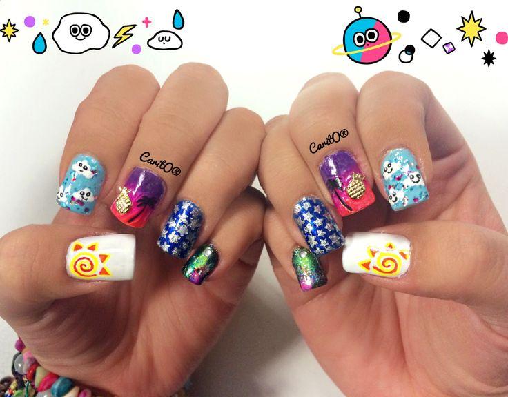 Colorfull nailart, weather manicure, galaxy nails, summer nails, cloudy nails, star nails, sunset nails