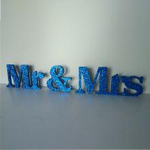 Mr & Mrs Marineblauw Glitter Bruiloft Teken Huwelijksreceptie Tafeldecoraties Gratis Staande Bruiloft Letters Sweetheart Tafel(China (Mainland))