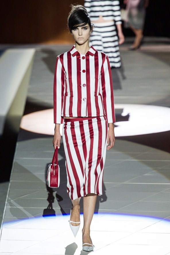 """8. STRIPE MANIA  (Vivienne Westwood, Michael Kors,...)  """"Vertical/horizontal/diagonal, go nuts with the possibilities. A classic marinière top will never go out of style, but cherry/grass-green/rainbow colored strips are just as trendy this season."""""""