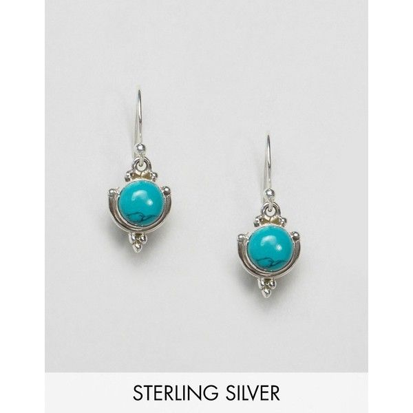Jo Bali By Kingsley Ryan Sterling Silver Turquoise Drop Earrings ($24) ❤ liked on Polyvore featuring jewelry, earrings, silver, drop earrings, sterling silver fish hook earrings, fish hook earrings, sterling silver jewellery and body jewelry