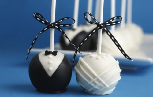 Bride and Groom Cake balls. Wedding Favors from Bakerella