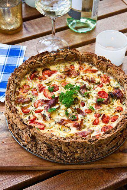 Mjölfri paj: Tomat och broccolipaj med pajskal av bondbönor