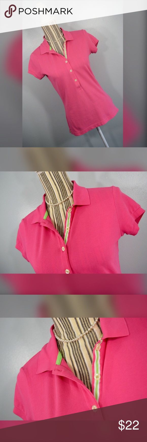 """{lilly pulitzer} Pink Polo Shirt Pink polo shirt with green and white accents by Lilly Pulitzer. Size Small.   Closure: 5 Buttons in front  Material: 95% Pima Cotton 5% Spandex   Measurements Bust: 33"""" lying flat, stretches to 38""""  Shoulder to Hem Length: 23"""" Sleeve Length: 4.75"""" Lilly Pulitzer Tops Tees - Short Sleeve"""