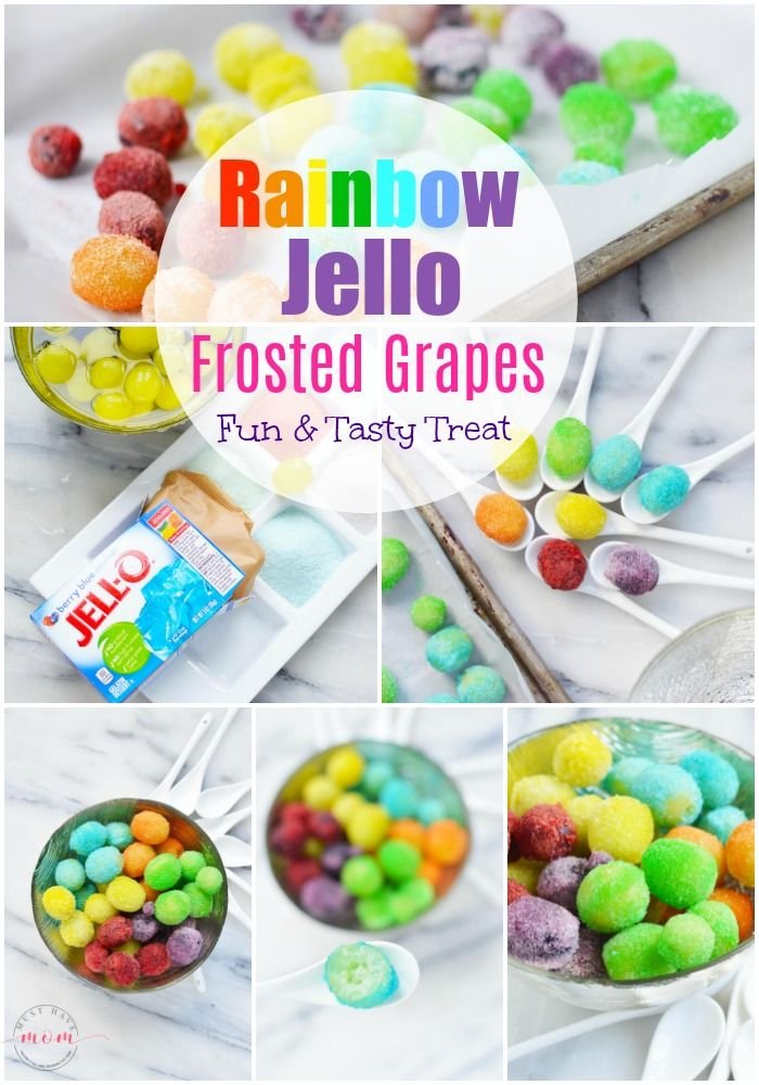 Rainbow Jello frosted grapes recipe! Rainbow frosted grapes are fun rainbow food that are also a gluten free treat!