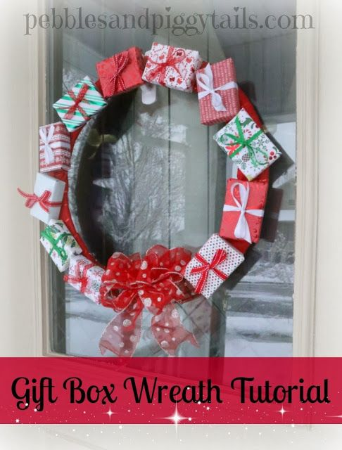 Pebbles and Piggytails: Making Life Meaningful: Gift Box Wreath Tutorial