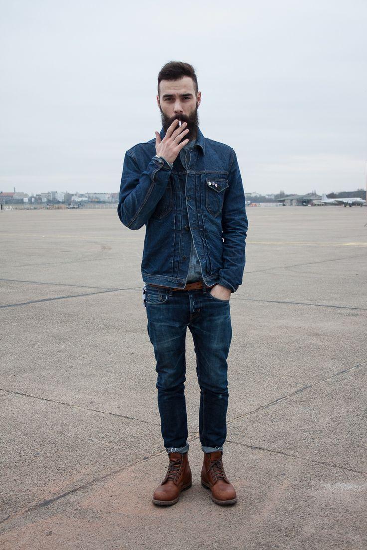 Men's Navy Denim Jacket, Grey Denim Shirt, Brown Leather Belt, Navy Jeans, and Dark Brown Leather Boots