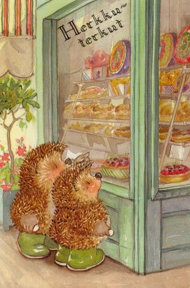 Country Companions postcard. Hedgies and baked goods. What could be better?