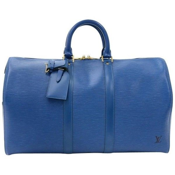 Preowned Vintage Louis Vuitton Keepall 45 Blue Epi Leather Duffle... (2.585 BRL) ❤ liked on Polyvore featuring bags, luggage, blue and duffel bags