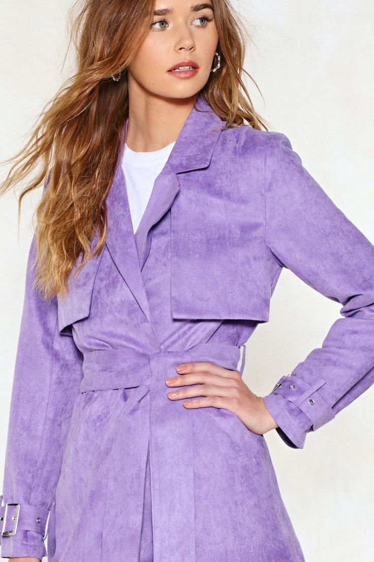 Vegan Suede Lavender Trench Coat | Vegan Fashion | Vegan Style | Vegan Suede | Spring 18 Trends | Lavender