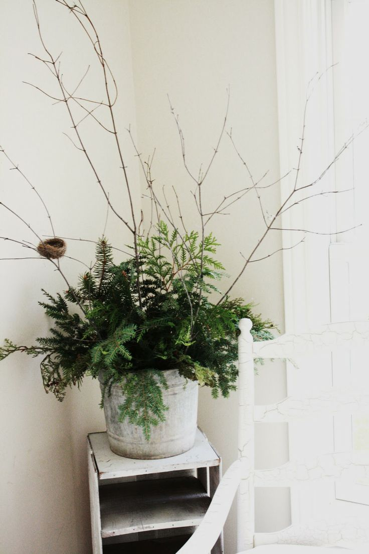 galvanized bucket with winter greenery and twigs
