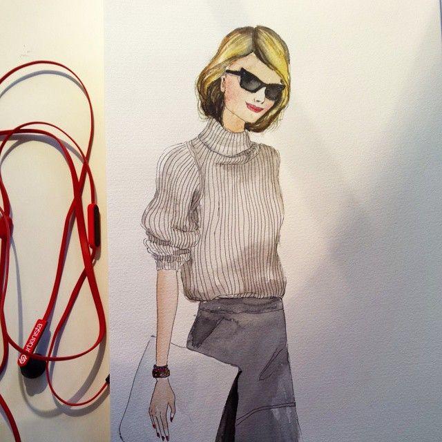 #fashionportrait #fashionillustration #fashionillustration #watercolor #sennelier #streetfashion #drawingoftheday #doodle #instaart #instafashion