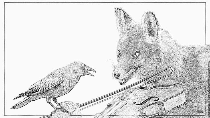 Les 25 meilleures id es de la cat gorie corbeau dessin sur pinterest art de corbeau croquis - Coloriage le corbeau et le renard ...