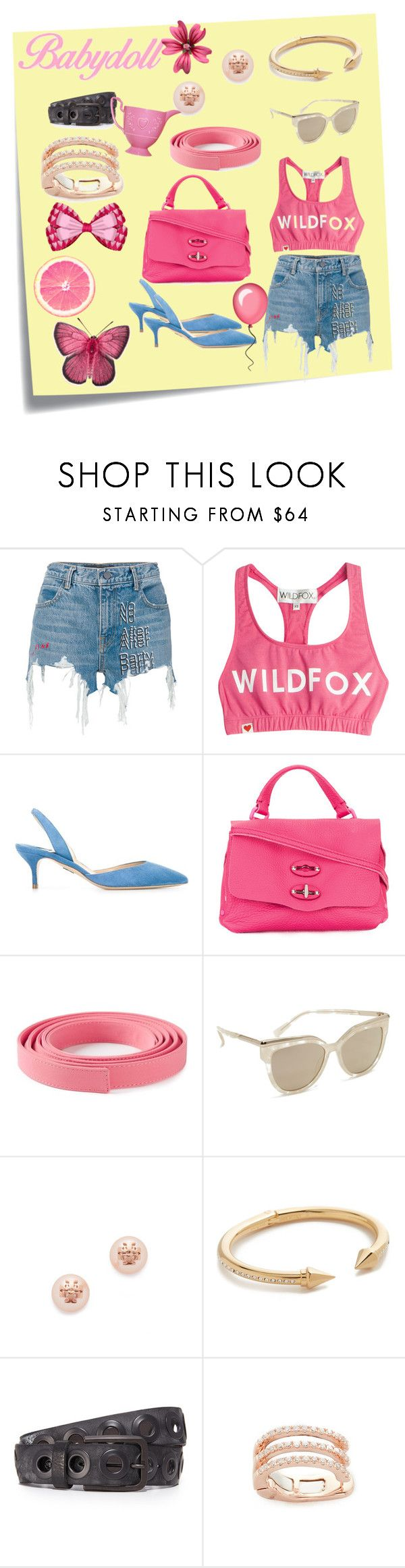 """""""Pink girl..."""" by jamuna-kaalla ❤ liked on Polyvore featuring Post-It, Alexander Wang, Wildfox, Paul Andrew, Zanellato, Ermanno Scervino, MCM, Tory Burch, Vita Fede and B. Belt"""