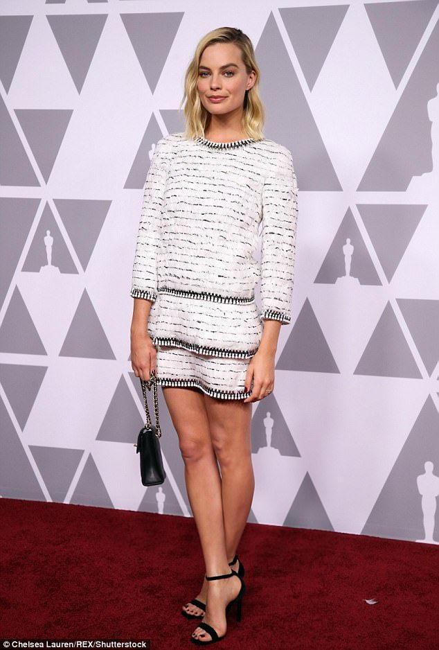 58386d683376c Margot Robbie flaunts pins in Chanel at Oscars luncheon | Margot ...