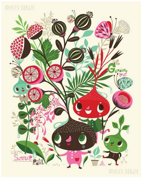 Gardens Love Warm Summer Rain Giclee Print by Helen DardikHelen Dardik, Giclee Prints, Helendardik, Botanical Prints, Warm Summer, Gardens, Summer Rain, Gicl Prints, Fabrics Design