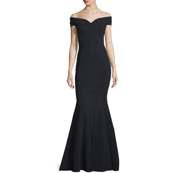 La Petite Robe Di Chiara Boni Genny Off-the-Shoulder Sweetheart... ($1,295) ❤ liked on Polyvore featuring dresses, gowns, black, sweetheart gowns, sweetheart neckline dress, off shoulder evening dress, cap sleeve dress and cap sleeve gown