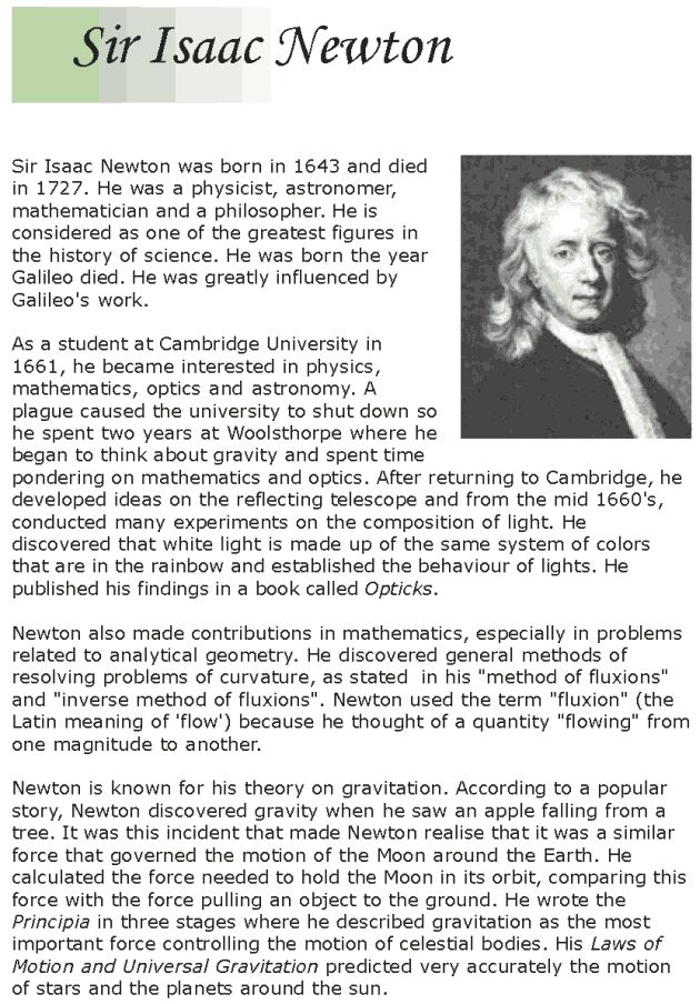 a brief biography of sir isaac newton english mathematician and physicist The isaac newton institute for  english physicist and mathematician isaac newton produced  named for physicist and astronomer sir isaac newton ,.