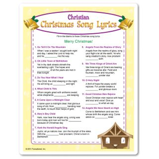 Fill-in-the blank of these Christian Christmas song lyrics to win! All songs are traditional Christian Christmas songs heard on the radio. Adult Christmas game.