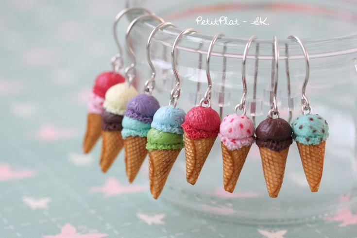 boucle Boucles d'oreilles – cornets de crème glacée, crème glacée // Boucles d'oreilles crème glacée PetitPlat ::: Handmade …
