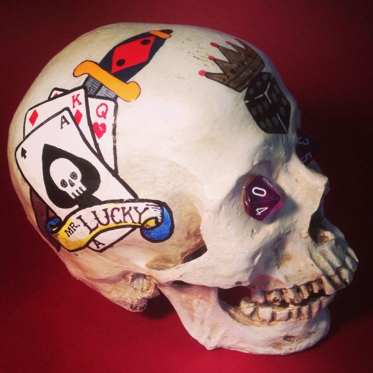 "Title - ""Mr. Lucky"" by SKOLLTOR. Skull sculpture with tattoo influence. Sculptural art skulls for collectors."