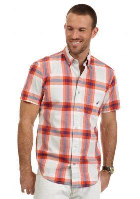 Nautica  Short Sleeve Orange Madras Shirt